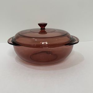 Pyrex Cranberry Round Casserole Dish Bowl with Lid